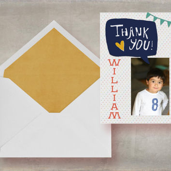 printable thank you card, photo thank you card, childs thank you, birthday party printable card, customisable thank you, personalized card