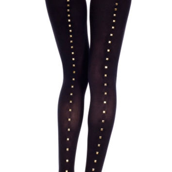 Gold Stud Backseam Tights