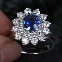 Oval Sapphire Engagement Ring VS Diamond Wedding 18k White Gold 3.62ct Flower
