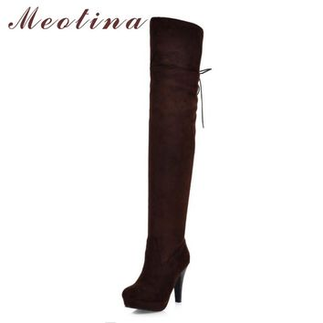 Meotina Shoes Women Boots Long Autumn Winter Thigh High Boots Lace Up Over The Knee Bo