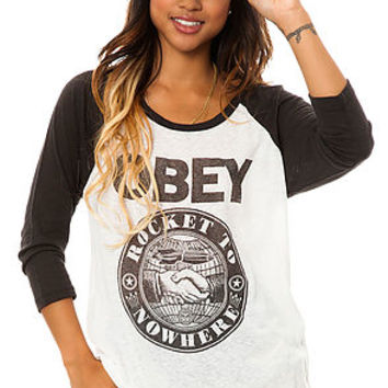 The Rocket to Nowhere Baseball Tee in Gray and Black
