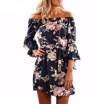 Women's Boho Floral Mini Dress