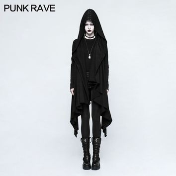 Trendy PUNK RAVE Novelty Women Casual Gothic Black Knitted Hooded Jacket Asymmetrical placket Sleeve hole eyelet DrawString design AT_94_13