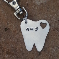 DA, Dental Assistant, Dentist, Hygienist, anyone in the Dental field Tooth key chain, hand stamped and personalized.