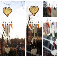 Depression Glass Windchime with Amber and Iridescent Cream Stained Glass Outdoor Decor