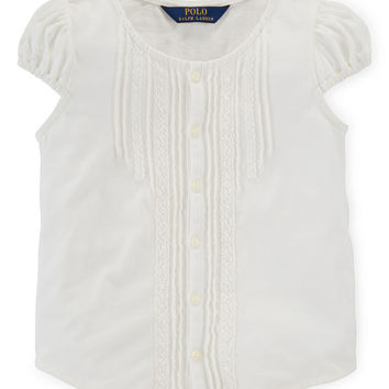 Cap-Sleeve Pintucked Jersey-Knit Top, Trophy Cream, Size 2T-6X,