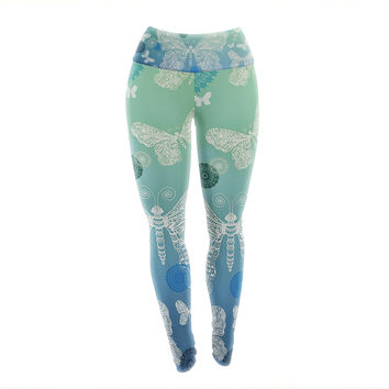 "Monika Strigel ""Butterfly Dreams Ocean"" Blue Green Yoga Leggings"