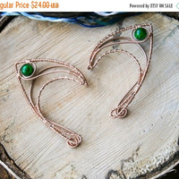 Copper elf earcuffs with icy green beads, elf ear cuffs, elven earcuffs , statement earrings, woodland, vulcan ears ,green, elegant, LARP,