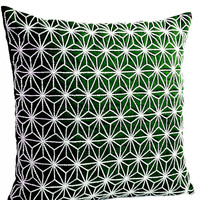 Emerald Green throw pillow with silver embroidered hemp leaf - Sashiko pillow cover- Cushion cover - Geometric Throw  pillow