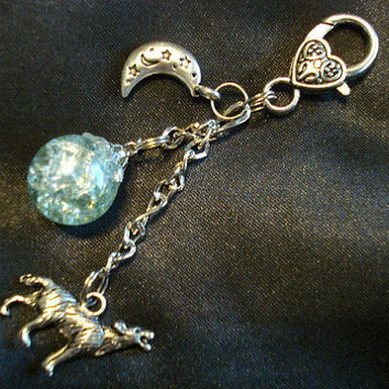 Wolf Moon Fried Marble Charm Pale Blue Keychain by KatieDidsx3