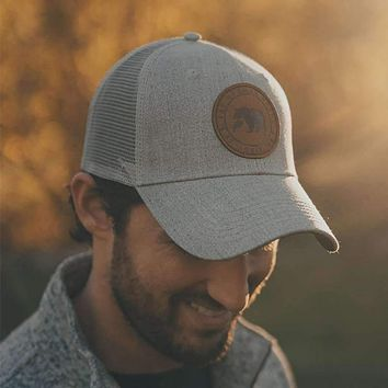 Leather Patch Trucker Cap by The Normal Brand