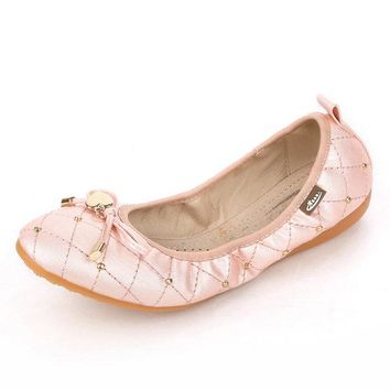 Big Size Heart Metal Check Folded Egg Roll Flat Shiny Ballet Shoes