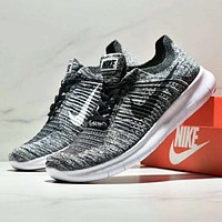 NIKE BETTER WORLD New fashion white black hook knit running couple shoes