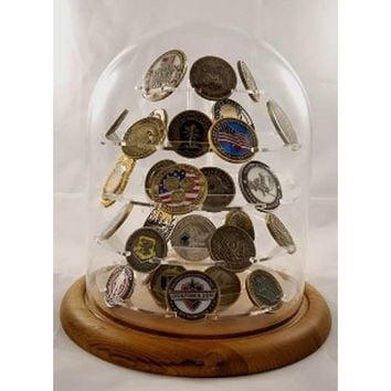 Challenge coin holder, Large Glass Dome Coin Display 76 Coins Hand Made By Veterans