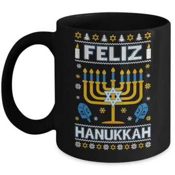 VONJE2 Happy Hanukkah Ugly Sweater Feliz Chanukah Menorah Mug