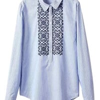 Blue Pinstripe Floral Embroidered Long Sleeve Shirt