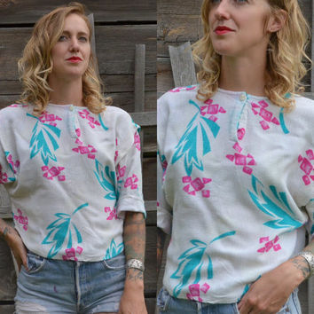 Vintage 80's New Wave Avant Garde Tropical Miami Vice Style Print Blouse