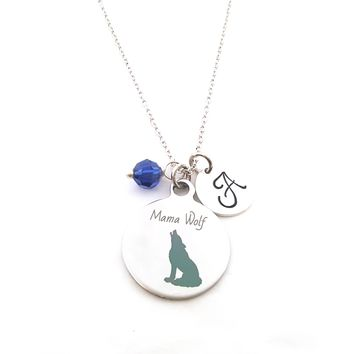 Mama Wolf Charm Necklace - Personalized Sterling Silver Jewelry