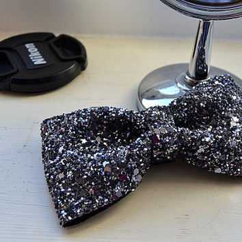 Grey Glitter Hair Bow Sparkly Cute Kawaii Glitter Bow