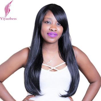 Yiyaobess 60cm 1B Straight Long Black Wig With Bangs Heat Resistant Synthetic Natural Hair Wigs For African American Women