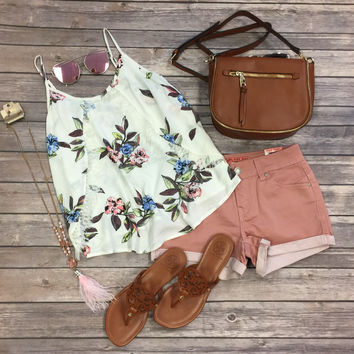 Floating By Floral Tank: White