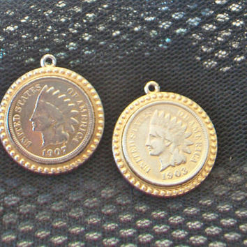 Vintage Coin Charms Native American Jewelry Making Supplies Gold Tone