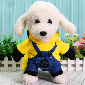 Warm Pet Dog Clothes For Small Dogs Cotton Puppy Coat Hoodies Outfit for Dogs Winter Clothes Cute Minions