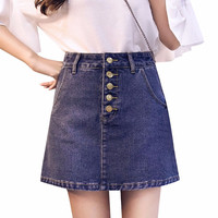 Vintage High Waist Denim Skirt   Slim Mini Dresses A-line Buttons Skirt Preppy Style Solid Package Hip Jeans Plus Size