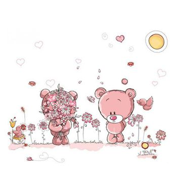 Removable Cute Couple Bear Wall Stickers Art Decal Wall Post Nursery Girl Baby Children Bedroom Decor