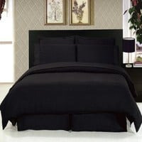 Full/Queen Brushed Microfiber Duvet Cover Sets (Black)