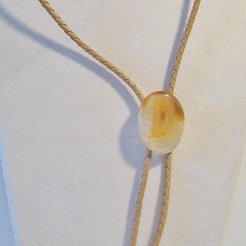 Vintage Beige Agate Bolo Tie Western Rockabilly Fashion Accessories For Him Country Bola