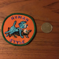 "Human Style 3"" Dogs embroidered patch by Seth Scriver"