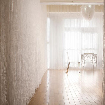 White Feather Like String Curtain -- 7 Feet Long