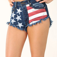 Stars And Stripes Shorts: Denim