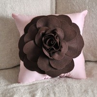 Chocolate Brown Rose on Light Pink Pillow by bedbuggs on Etsy