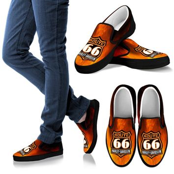 Route 66 Flames Black Design Mens Slip Ons