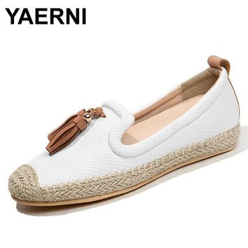 YAERNI  Women Casual Shoes Female Genuine Leather Loafers Shoes Woman Fashion Slip On Breathable Flats Shoes For Girls Size35-40