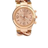 Rose Gold Metal & Tortoise Shell Chain Link Watch by Charlotte Russe