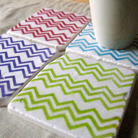 Chevron Coasters, Bright Color Collection, Set of 4, Ready to Ship