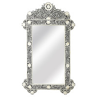 Mirrors, Bone Inlay Oversized Wall Mirror, Black, Wall Mirrors