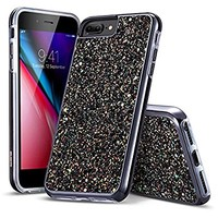 "iPhone 8 Plus Case, iPhone 7 Plus Case, DGtek™ Glitter Bling Hybrid Heavy Duty Sparkle Dual Layer Protective Hard PC + Soft TPU Shell for Apple iPhone 8 Plus 5.5"" & iPhone 7 Plus (Black)"