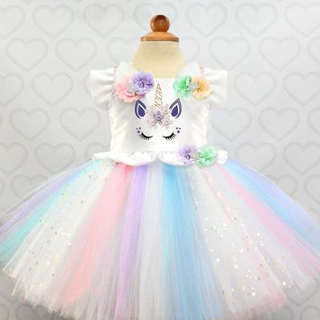 Colorful Girl Ball Gowns For Wedding Birthday Outfits Costume Princess Unicornio Party Dress Kid Tulle Summer Clothes 2018 Brand
