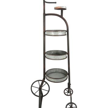 Vintage Style Metal Tricycle Planter Stand, Silver