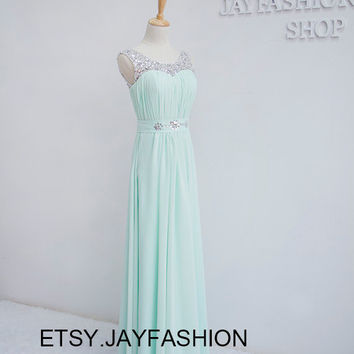 Mint Green Fashion Long Prom Dresses Sexy without train Party Dresses Formal Evening Gown Homecoming Dresses Evening Dresses Wedding Dresses