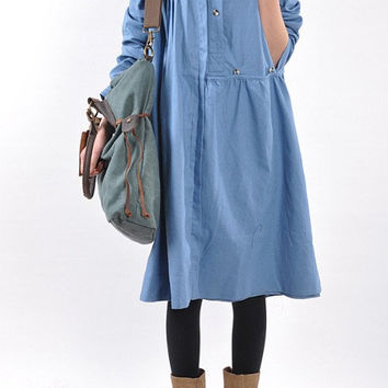 Linen pleated babydoll long sleeved dress/ blue