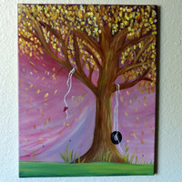 20 X 16-Whimsical Art-Whimsy- Whimsy Tree -Heart-Original Art -Canvas-Acrylic