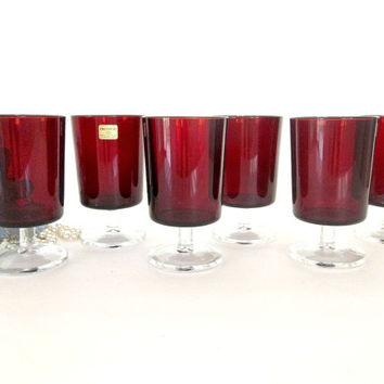 Vintage Arcoroc Luminarc SIX red glasses, drinking glasses, stemmed glassware, ruby red water wine glasses, France, Durand stemware