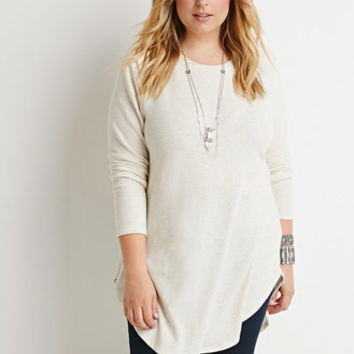 Curved-Hem Heathered Tunic