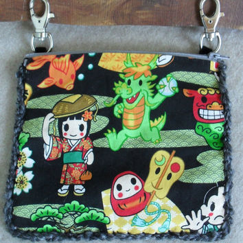 Anime Hip Pouch Bag Crochet Hands Free attach to belt loops carry tote