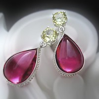 Vintage Glass Pink Tourmaline and Yellow Sapphire Earrings